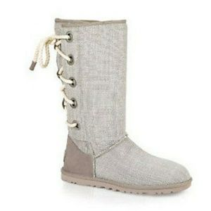 UGG Harbour tweed cloth rope lace up boots sz 7